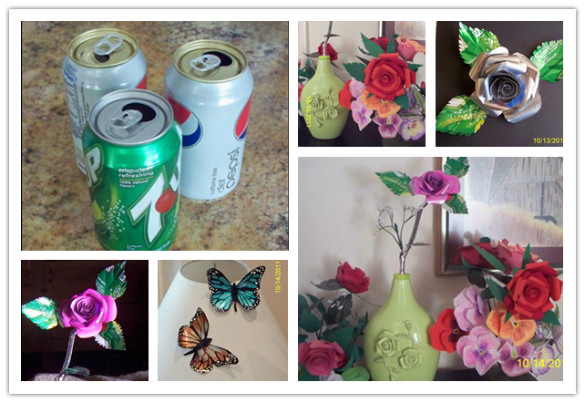 Aluminum butterfly from recycled tin cans