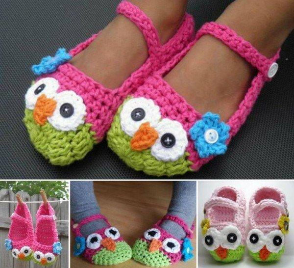 DIY Crochet Mary Jane Owl Slippers - free crochet slipper pattern