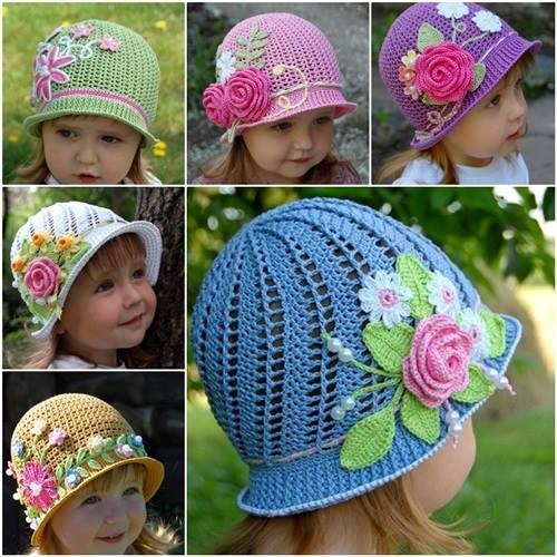 Pretty Crochet Patterns : Tutorial - Crochet Vintage Girls Brimmed Sun Hat