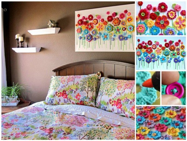 DIY Crochet Button Flower Wall Art