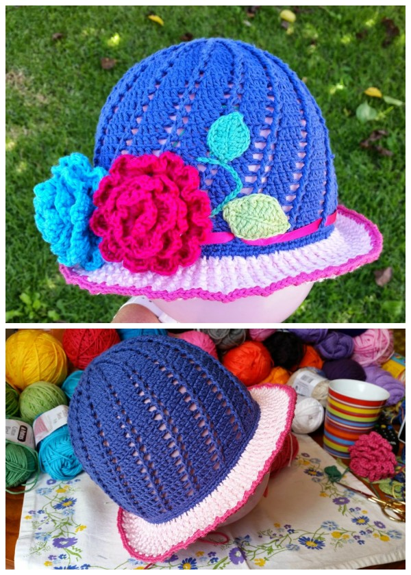 DIY Crochet Vintage Girls Brimmed Sun Hat Free Written pattern with pictures