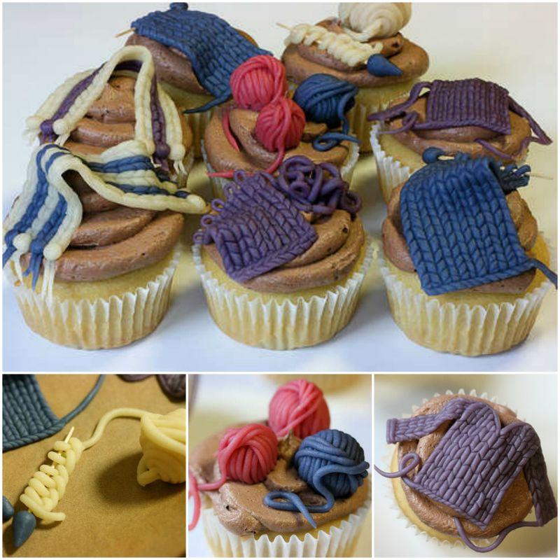 DIY Knit Nights Yarn Ball Cupcakes f