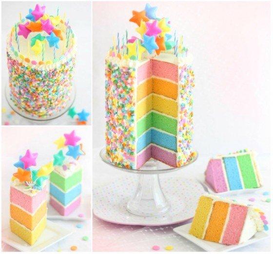 Pastel Rainbow Layer Cake Tutorial via Sprinkle Bakes