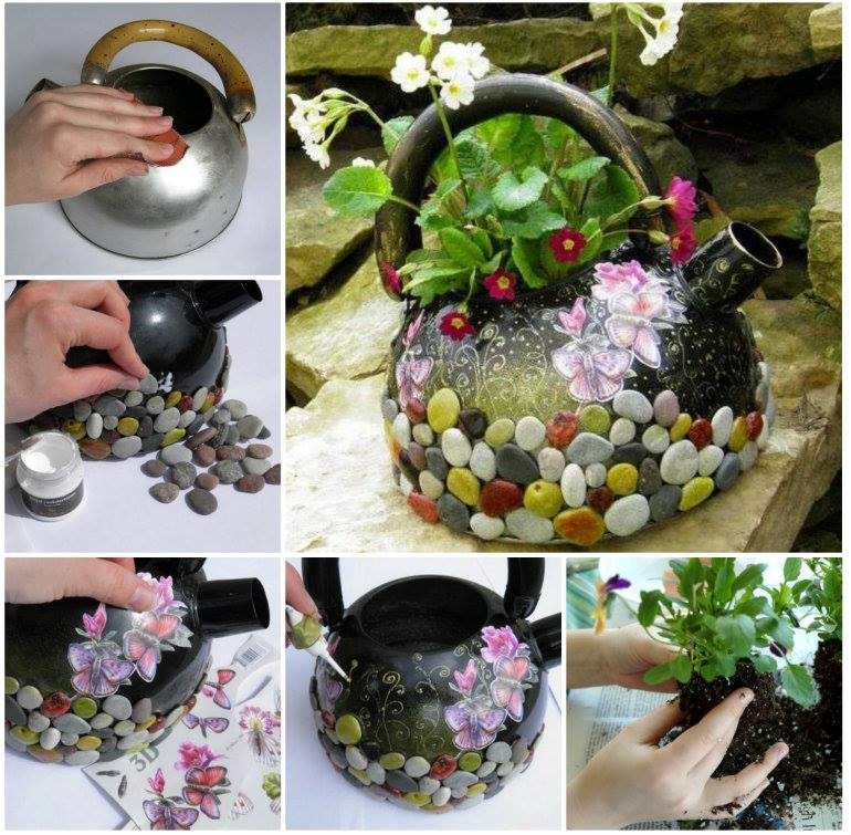 How to diy pretty recycled kettle planter for Easy recycling ideas