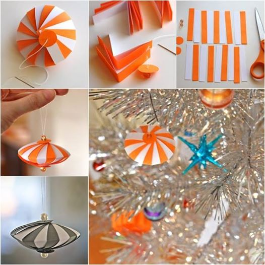 How to diy cute striped paper ornament for Easy paper christmas decorations to make at home