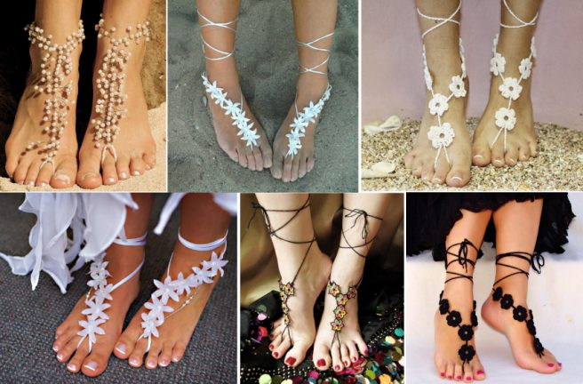 crochet Glamorous Barefoot Beach Sandals patterns
