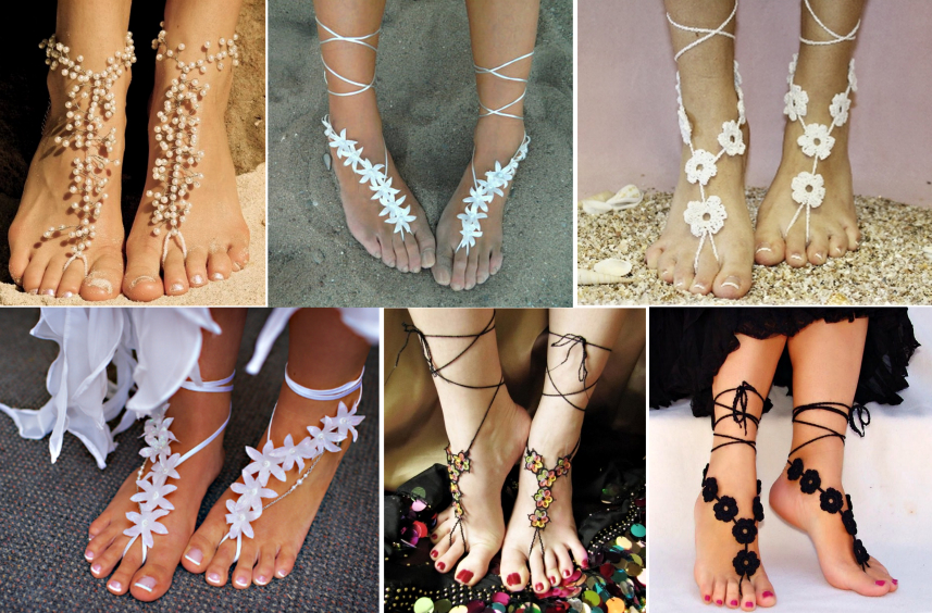 crochet Glamorous Barefoot Beach Sandals pattern