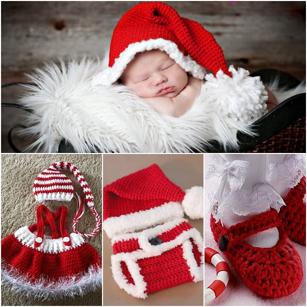 Free Crochet Pattern For Christmas Dress : DIY Crochet Baby Christmas Sets Free Pattern
