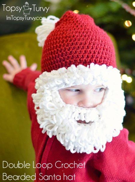 DIY Crochet Baby Christmas Sets Free Pattern-Double Loop Crochet Bearded Santa Hat