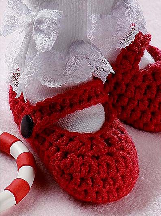 Free Crochet Patterns For Baby Booties Mary Janes : DIY Crochet Baby Christmas Sets Free Pattern