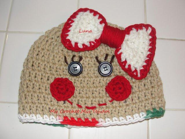 Free crochet gingerbread beanie hat hat gingerbread cookie pattern