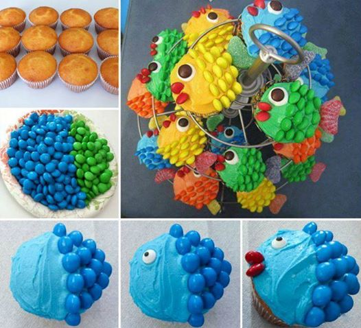 How to DIY Cute Little Fishy M&M Scale Cupcake