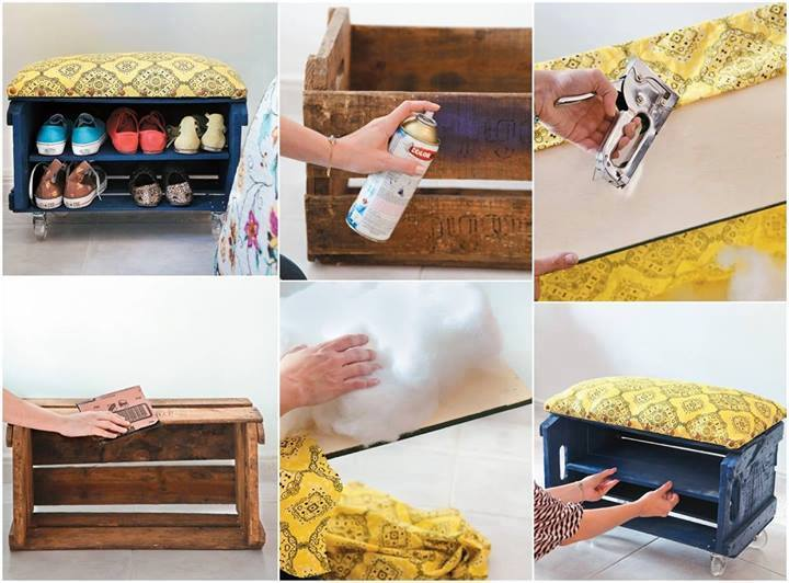 Make your own shoe bench from a fruit crate