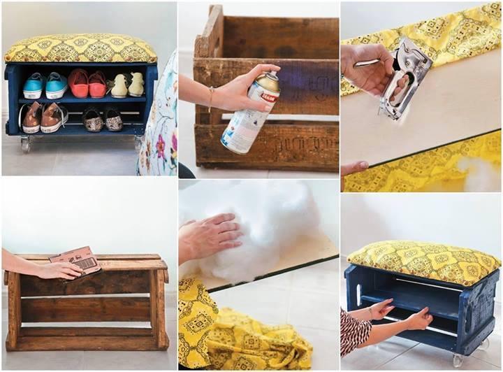 How to DIY Shoe Bench from Fruit Crate - Fab Art DIY