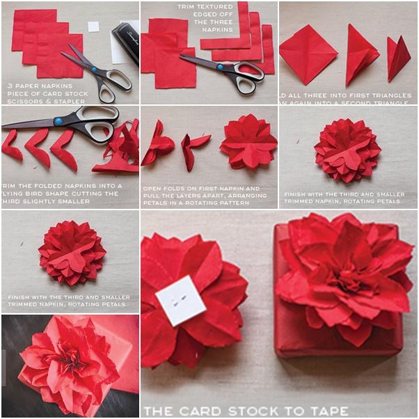 Paper Napkin Poinsettia Tutorial f