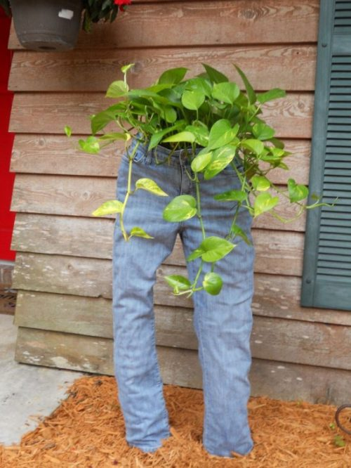 How to DIY Fun Recycled Jean Planter