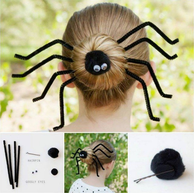 DIY Fun Spider Hair Bun for Halloween