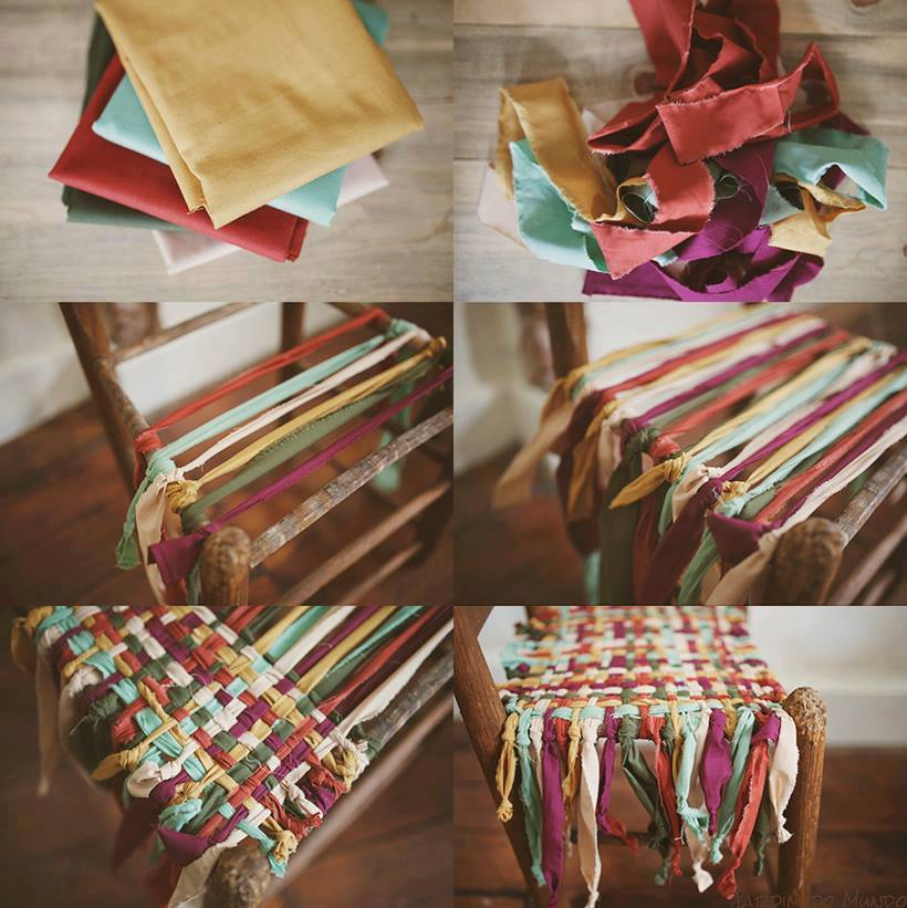 braided chair seat with material strips