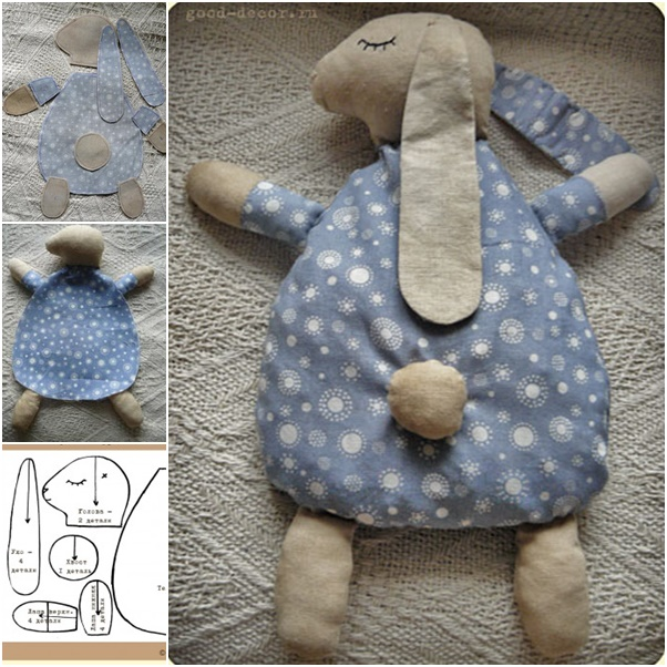 bunny pillow sew template free