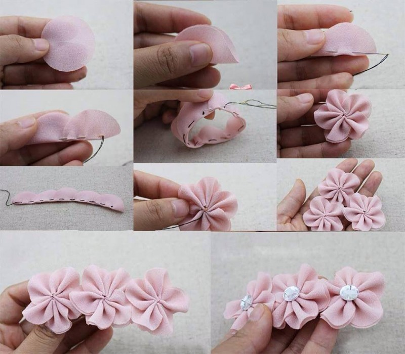 DIY chiffon flower hairclip instruction and tutorial