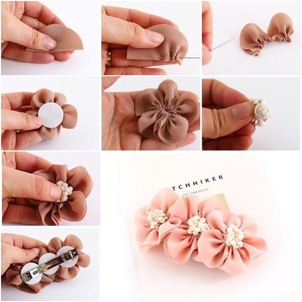 Diy Pretty Fabric Flower Hairclip