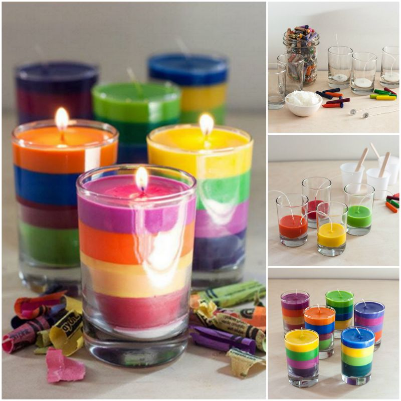 colorful layered crayon candle