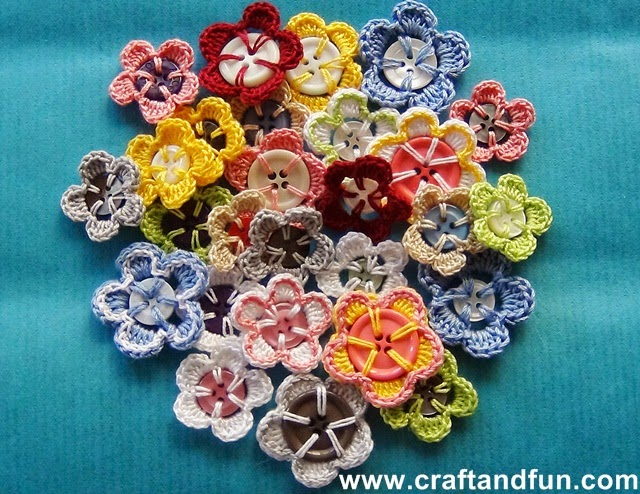 Crochet Button Flowers Free Crochet Pattern