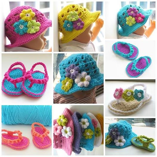 crochet flip flop and hat set