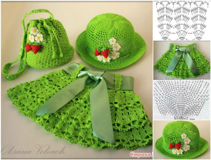 DIY Pretty Crochet Girls Sun Hat and Skirt Set Free Pattern