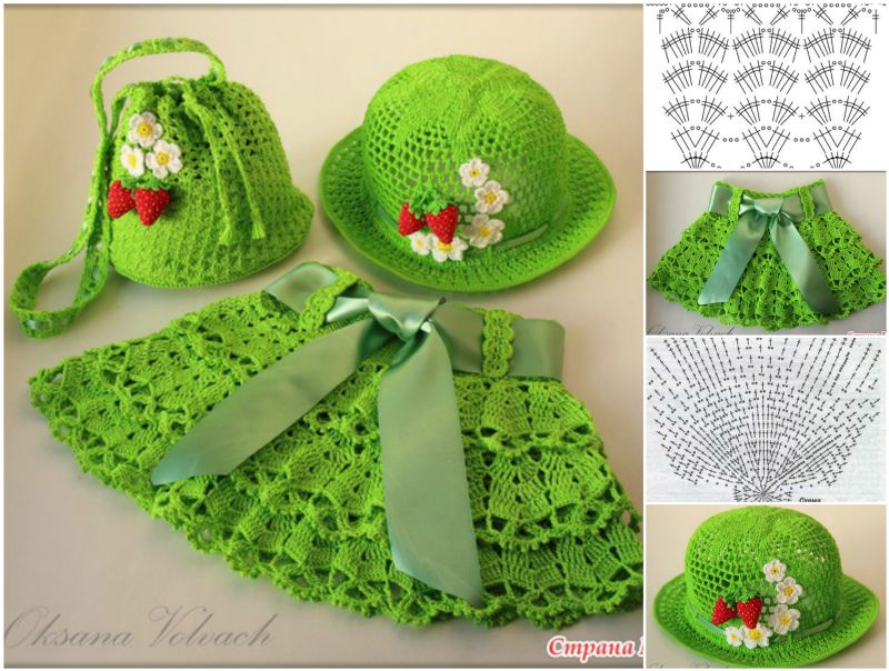 crochet girl skirt, hat set free pattern