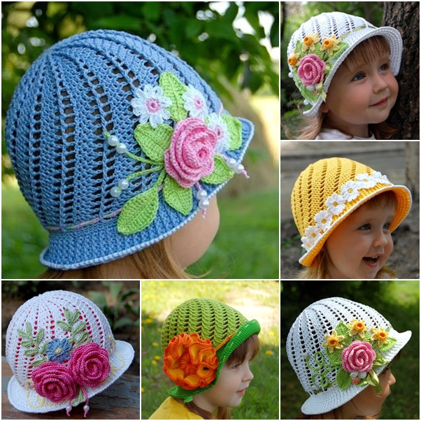 Diy Crochet Vintage Girls Brimmed Sun Hat
