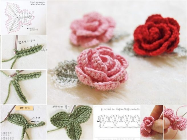 cc976ef14c8 DIY 3D Crochet Rose With Stem Free Pattern