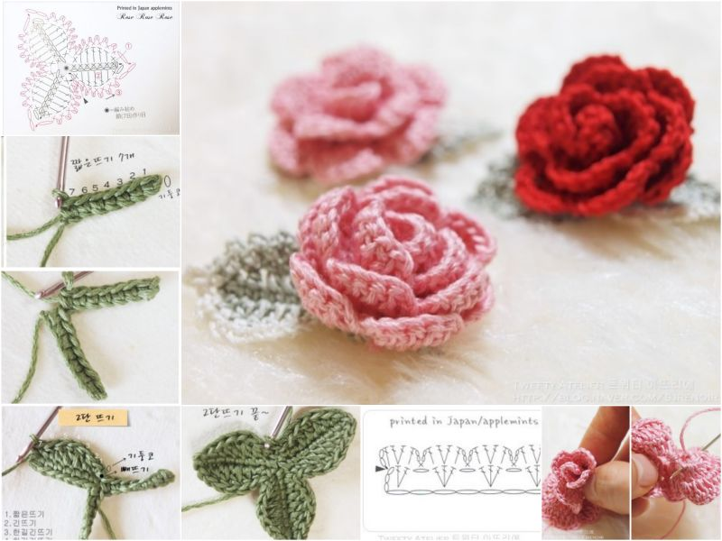 Crochet Thread Rose Pattern Free : How to DIY Crochet Rose with Free Pattern