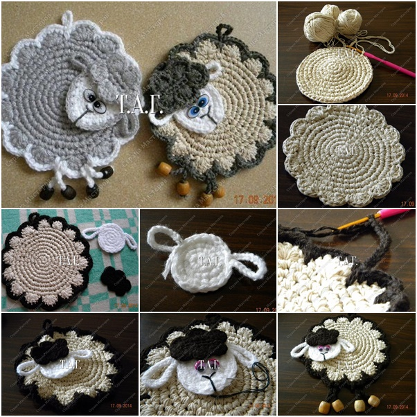 Crochet Lamb Coaster Free Pattern