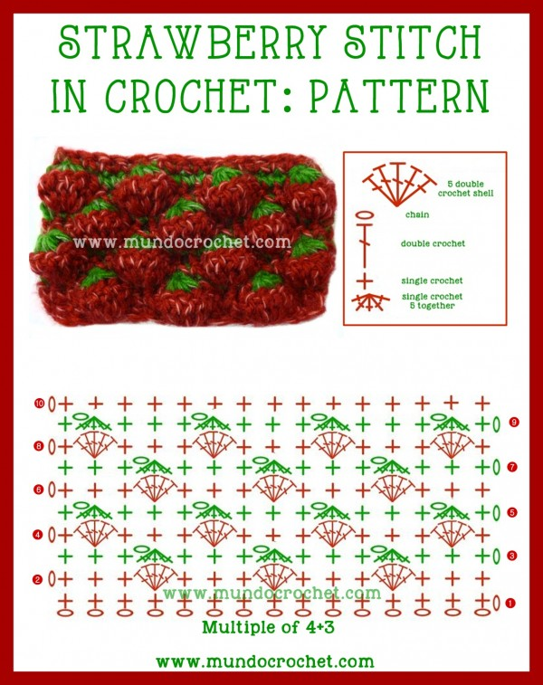 facrochet strawberry stitch free diagrambartdiy