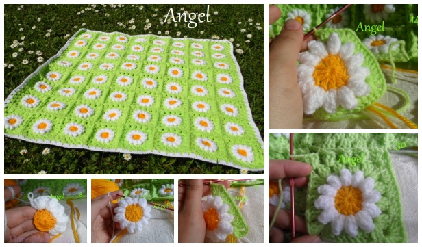 DIY Crochet Wild Daisy Flower Blanket Free Crochet Pattern - Video