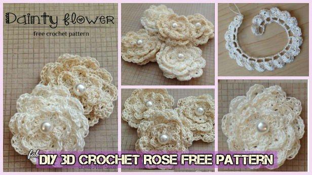 DIY 3D Crochet Rose With Stem Free Pattern