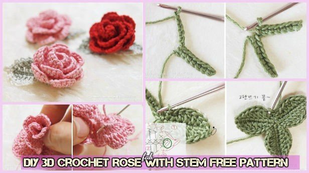 DIY 3D Crochet Rose With Stem Free Pattern-Video