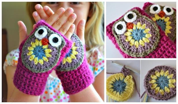 DIY Adorable Fingerless Owl Gloves (Mittens) Free Crochet Pattern