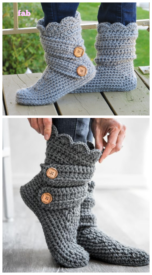 Diy Ladies Buttoned Cuff Slipper Booties Crochet Pattern Video