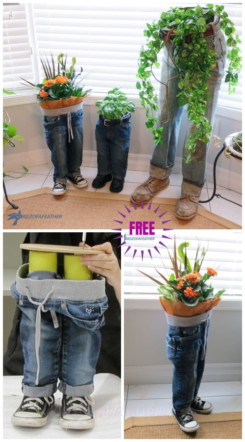 DIY Fun Recycled Jean Planter Tutorials