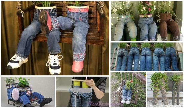 DIY Fun Recycled Jean Planter Tutorials & Inspirations