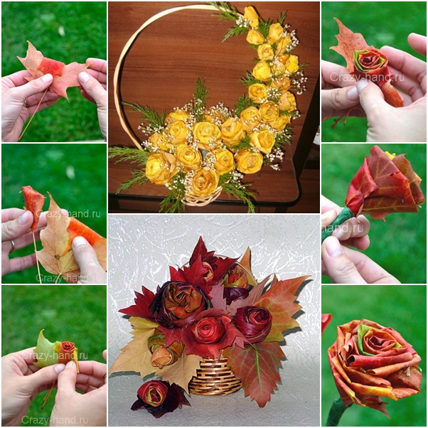 How to DIY Fall Leaf Rose Flower Bouquet (Video)