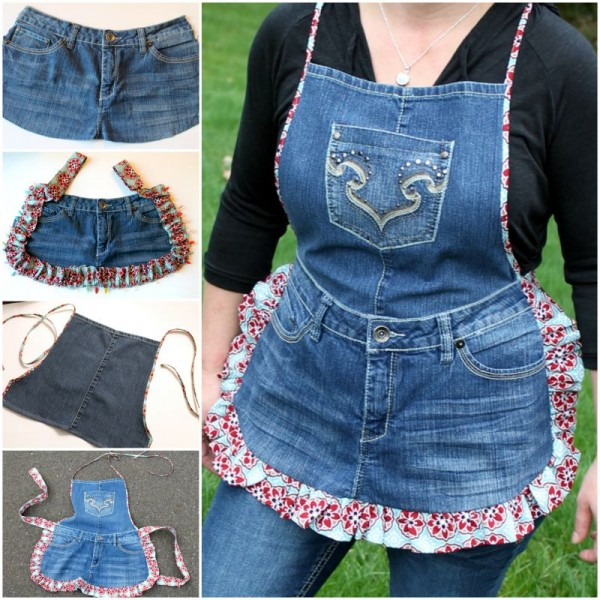 How to DIY farm girl apron from old jeans