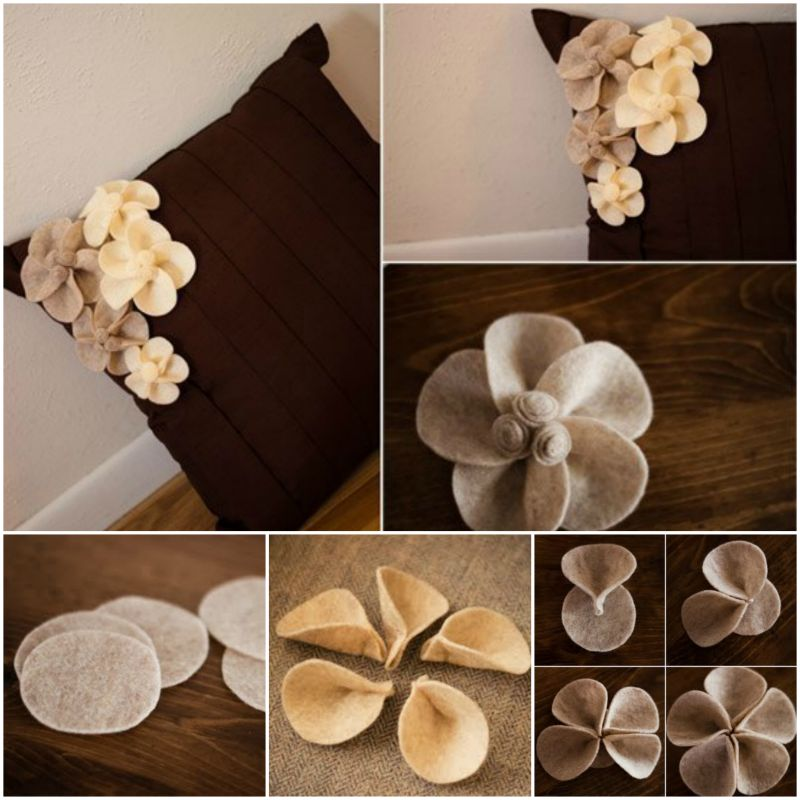 How To Make A Small Decorative Pillow : How to DIY Pretty Felt Flower Pin for Pillow