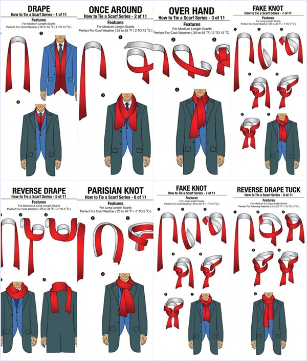 how to tie scarf for in 11 different ways