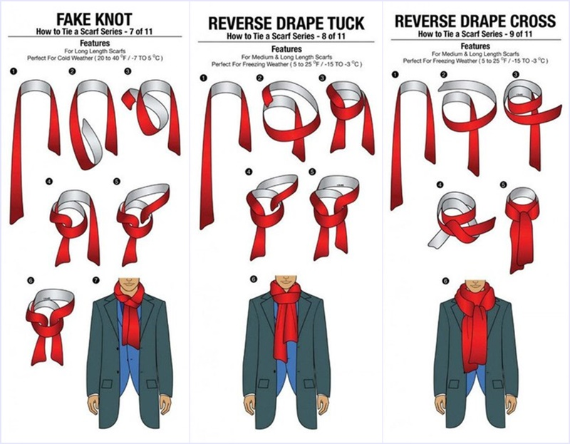 Завязывание шарфа схемы