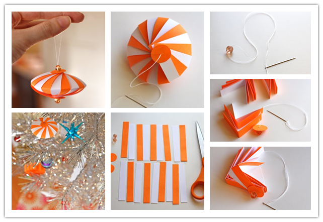 How to diy cute striped paper ornament for Diy paper ornaments