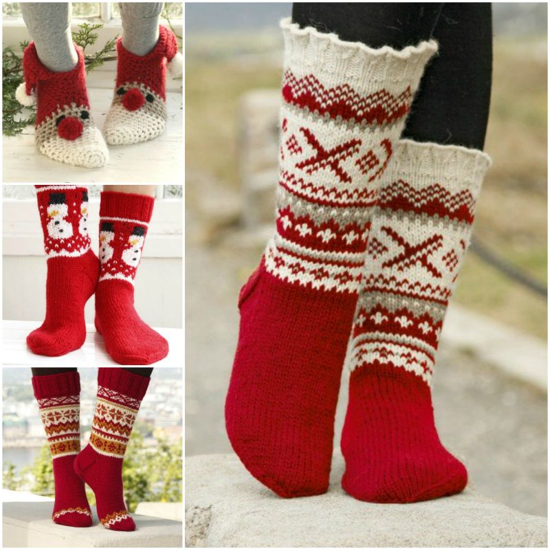 Knitting Socks Design : Festive knitted socks for christmas with free pattern