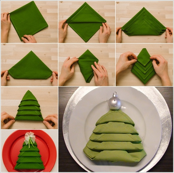 DIY Christmas Tree Napkin Folding (Video)